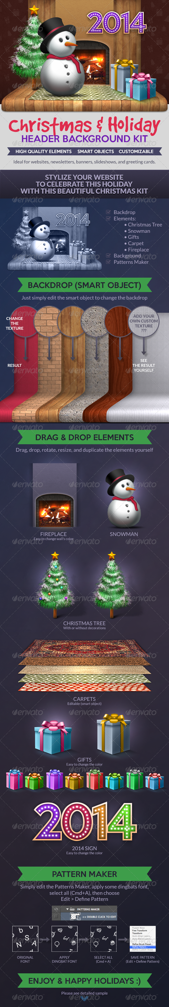 Christmas & Holiday: Header Background Kit - Miscellaneous Web Elements