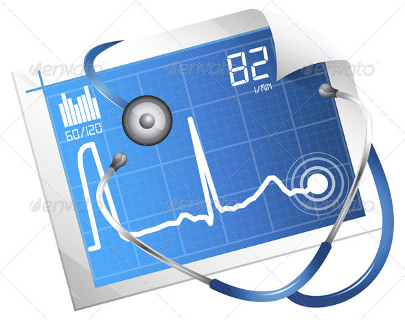 GraphicRiver ECG Monitoring Illustration 6303789