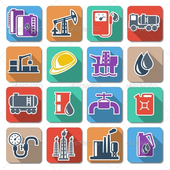 GraphicRiver Vector Oil Industry Flat Icons 6303853