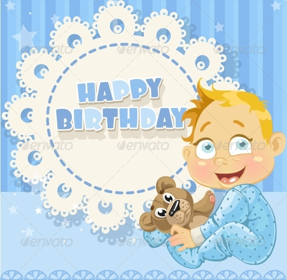 GraphicRiver Happy Birthday Blue Openwork Card 6304214