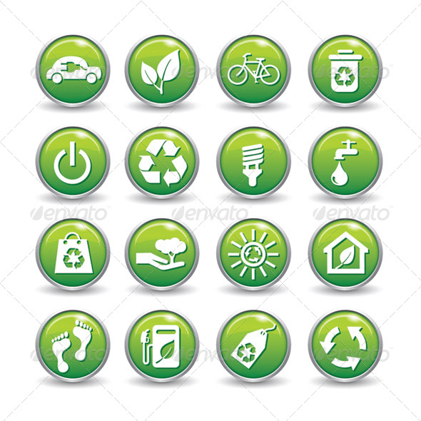 GraphicRiver Ecology Web Icons Green Buttons Ecology Icon Set 6304276