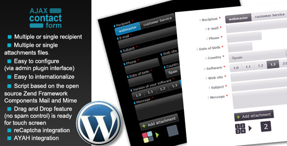 Wordpress Ajax Contact Form with attachments - CodeCanyon Item for Sale