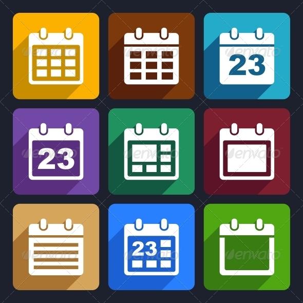 GraphicRiver Calendar Flat Icons Set 21 6305477