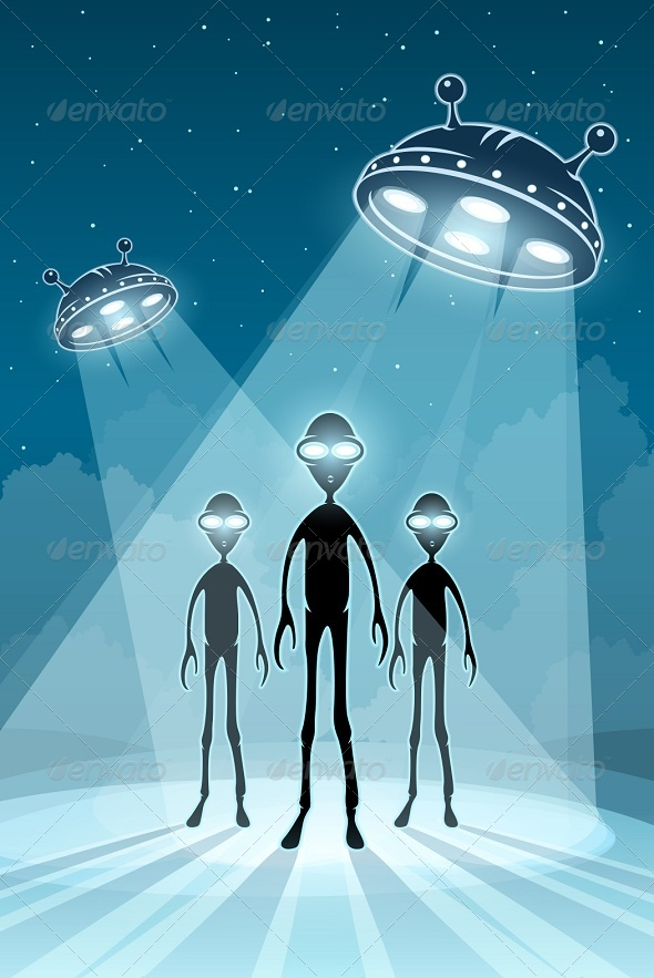 GraphicRiver UFO Alien Newcomers and Flying Saucers 6305898