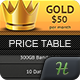 Crown Pricing Tables - GraphicRiver Item for Sale