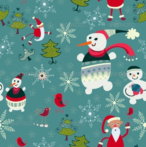 GraphicRiver Christmas Texture with Santa Deer Snowman 6307807