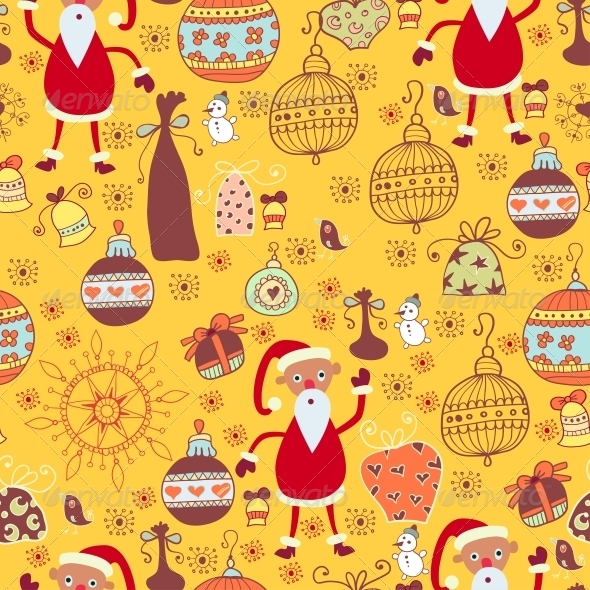 GraphicRiver Christmas Texture with Santa Toys 6308948