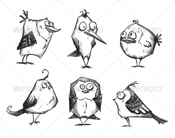 GraphicRiver 6 Cartoon Birds 6288031