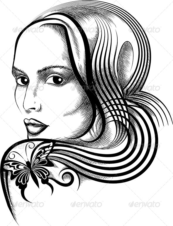 GraphicRiver Woman with Butterfly Tattoo 6309002