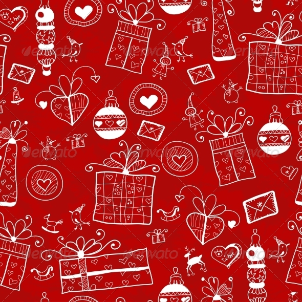 GraphicRiver Red Christmas Seamless Pattern 6309087