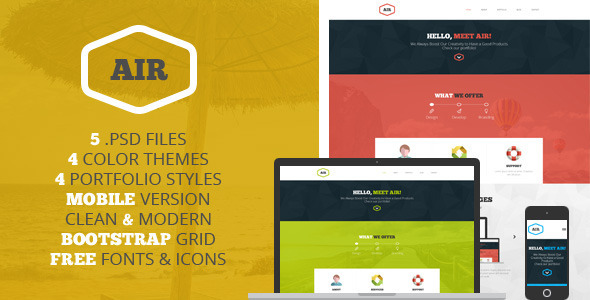 ThemeForest AIR Multipurpose OnePage PSD template 6309157