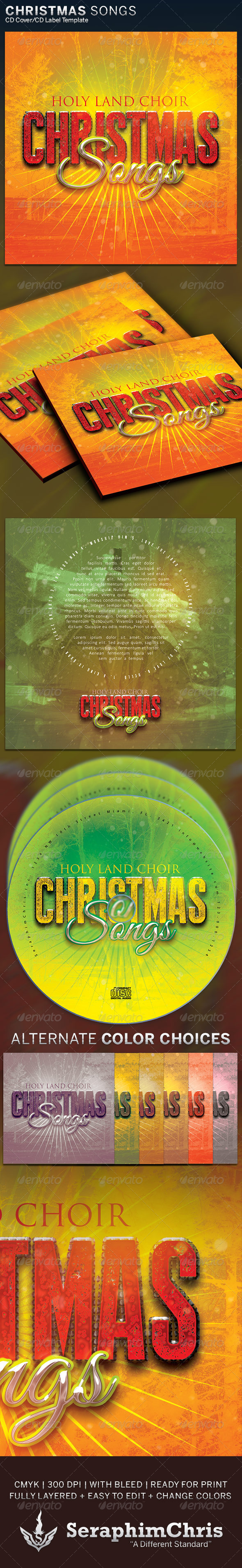 GraphicRiver Christmas Songs CD Cover Artwork Template 6309379