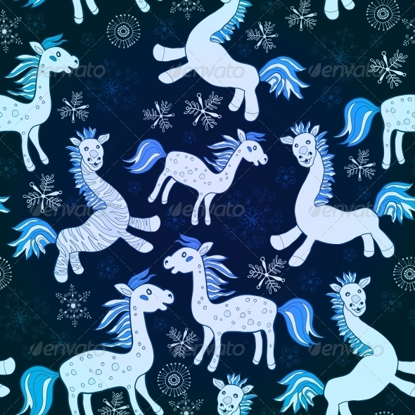 GraphicRiver Blue Horse Seamless Pattern 6309435