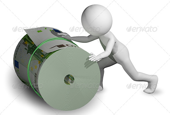 GraphicRiver Man Rolls a Roll of Euros 6311522