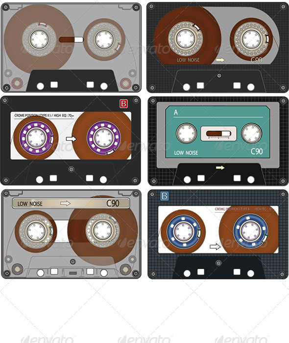 GraphicRiver Complete Set of the Audio Cassettes Tapes 6312279