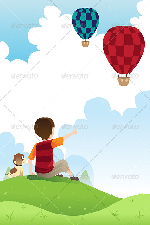 GraphicRiver Boy and Dog Watching Balloons 6312287