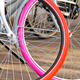 Two bicycles with colorful wheels parked. Netherlands - PhotoDune Item for Sale