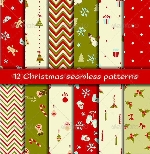 GraphicRiver Set of 12 Christmas Seamless Patterns 6312570