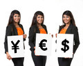 Indian business woman holding currency symbols saying word 'YES' - PhotoDune Item for Sale