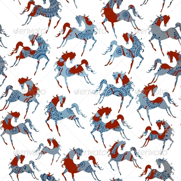 GraphicRiver Horse Blue Seamless Pattern Vector 6314305