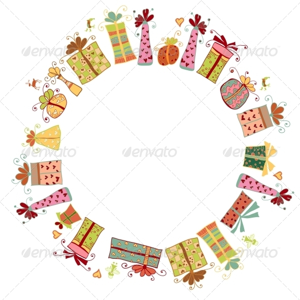 GraphicRiver Circle Border Frame Card from Gift Boxes 6314876