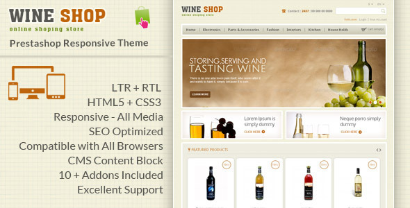 ThemeForest Wine Shop Prestashop Responsive Theme 6315174