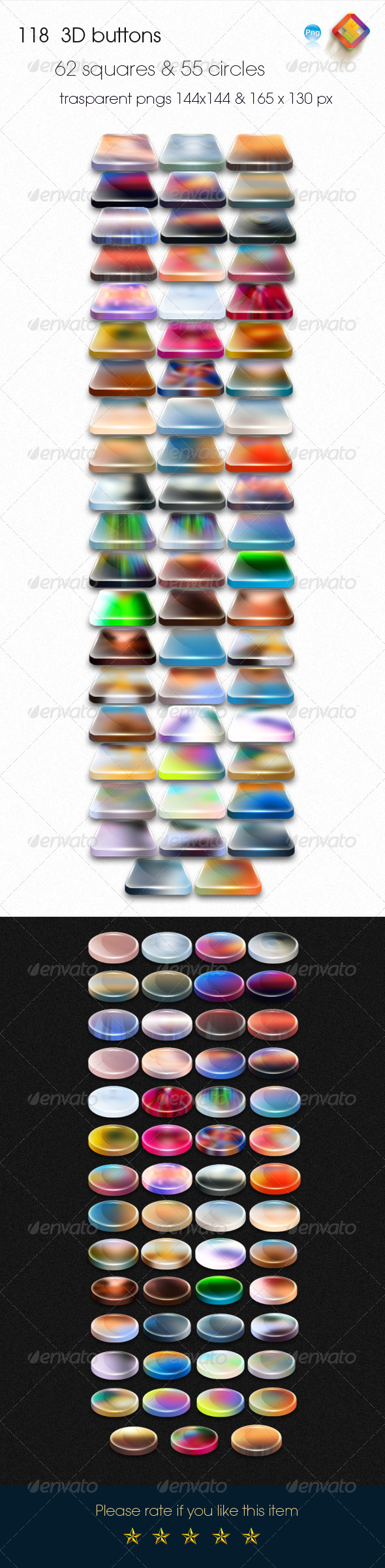 GraphicRiver 118 Colorful 3D Buttons 6315570