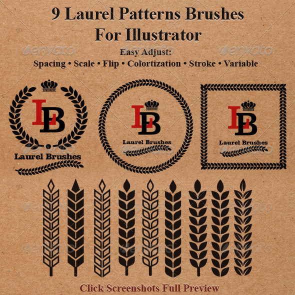 GraphicRiver 9 Laurel Patterns Brushes for Illustrator 6316605