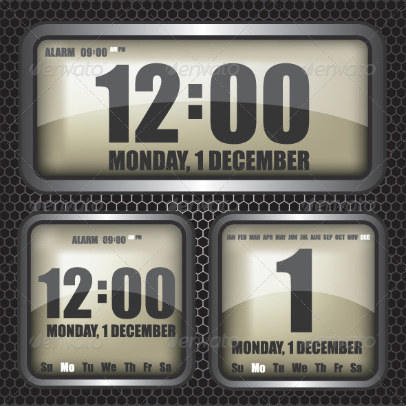 GraphicRiver Retro Digital Clock Illustration 6317062