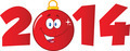 2014 Year Numbers With Cartoon Red Christmas Ball  - PhotoDune Item for Sale