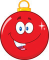 Happy Red Christmas Ball Cartoon Mascot Character   - PhotoDune Item for Sale
