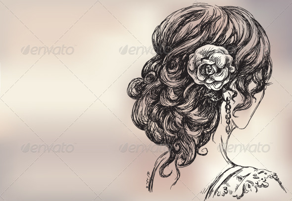 GraphicRiver Vector Drawing of a Girl Bridal Hair 6317556