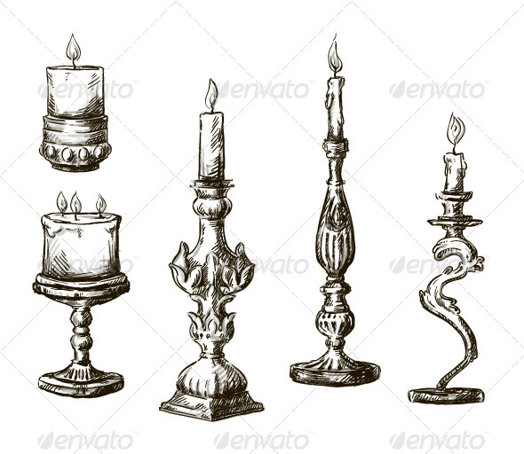 GraphicRiver 6 Hand Drawn Candles Retro Candlesticks 6317643