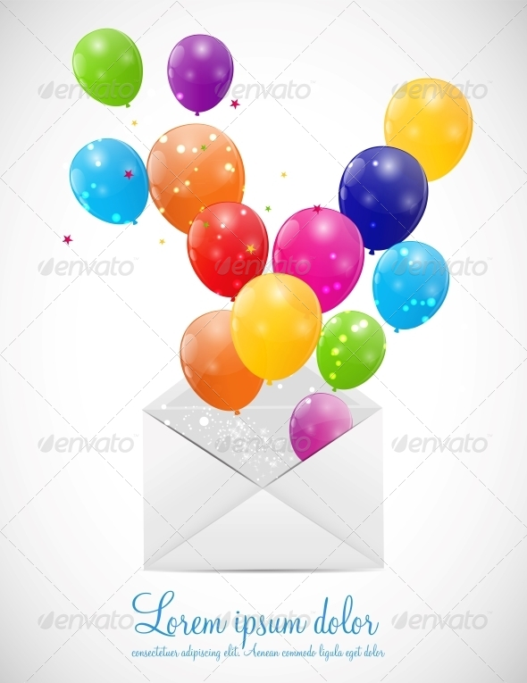 GraphicRiver Envelope with Balloons Vector Illustration 6317862