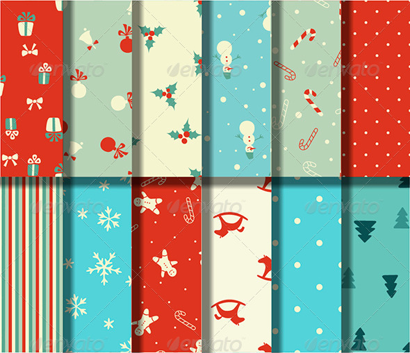 GraphicRiver Set of 12 Christmas Seamless Patterns 6320063