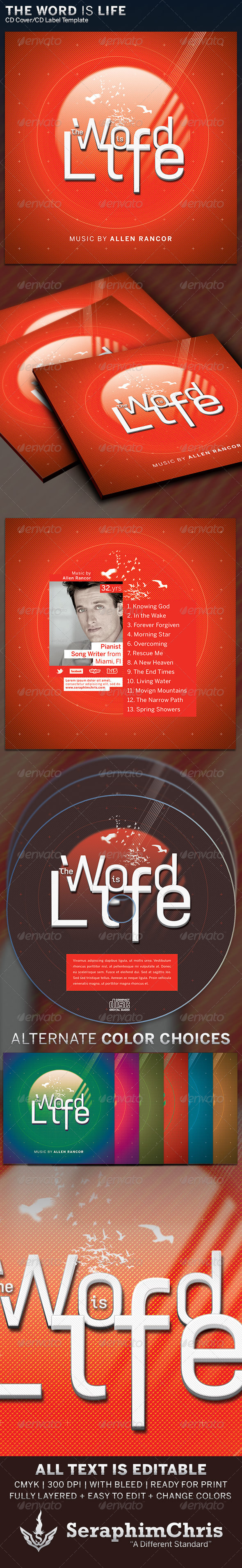 GraphicRiver The Word Is Life CD Cover Artwork Template 6320327