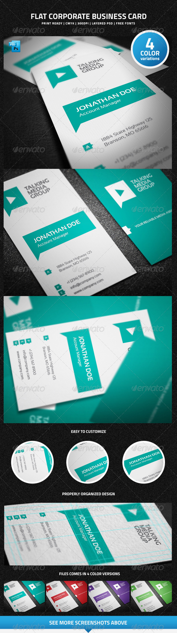 GraphicRiver Flat Corporate Business Card 6320663