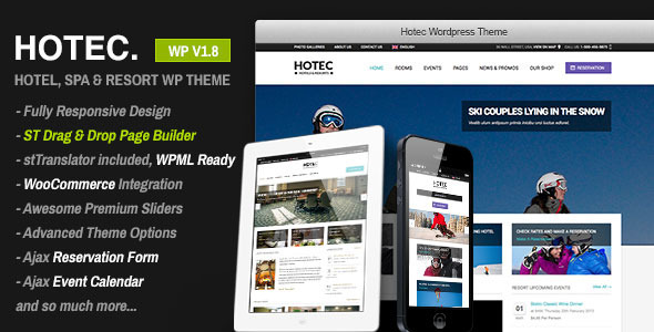 Hotec - Responsive Hotel, Spa & Resort WP Theme - Travel Retail