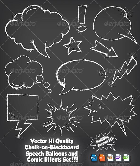 GraphicRiver Chalkboard Speech Balloon Set 6322405