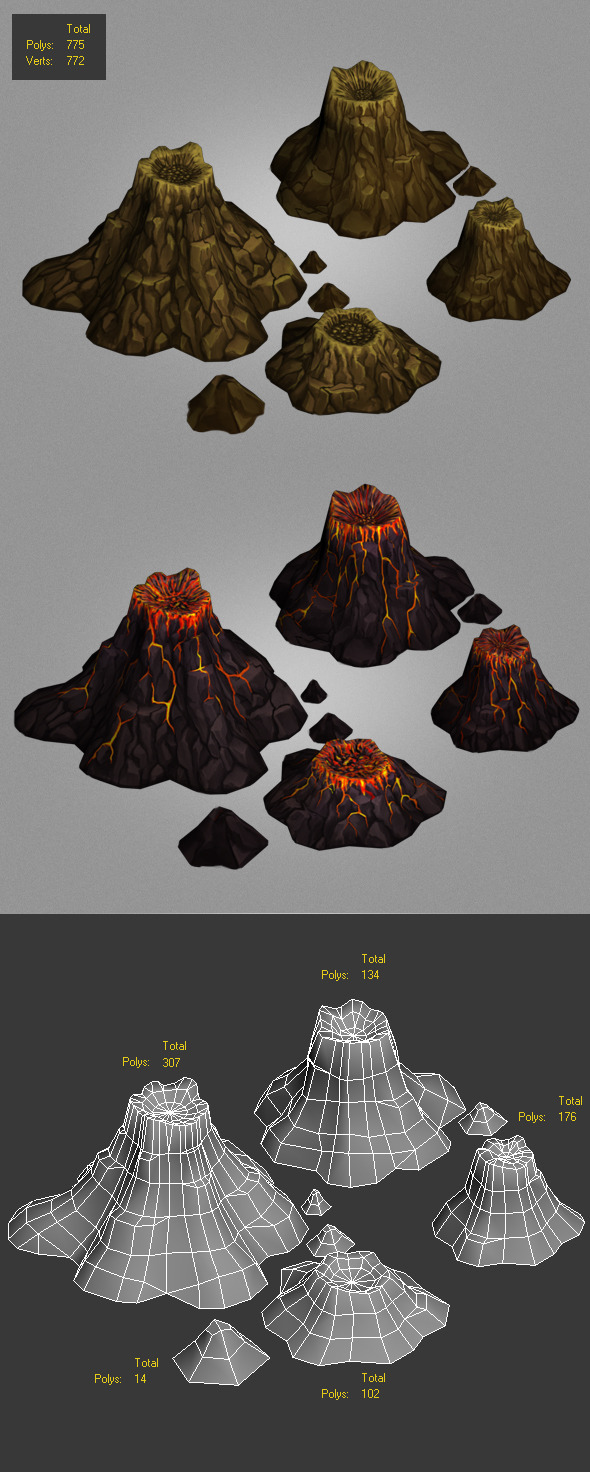 3DOcean volcanoes low poly 6323185