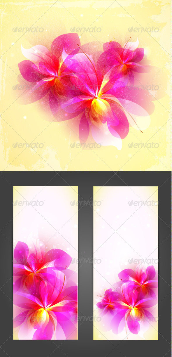 GraphicRiver Set of Abstract Pink Vector Flowers 6320994