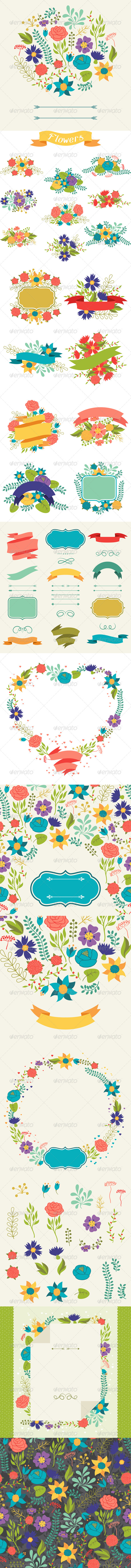 GraphicRiver Floral Backgrounds and Bouquets of Flowers 6324104