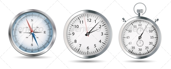 GraphicRiver Glossy Compass Watch and Stopwatch Set 6325315