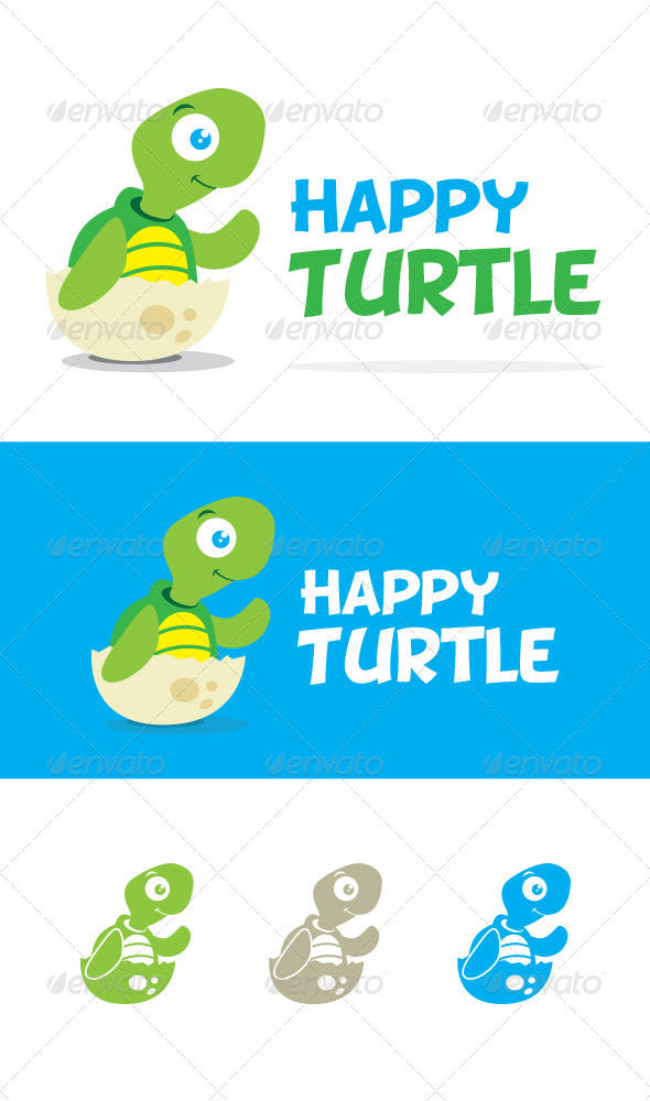 Happy Turtle Logo Template - Animals Logo Templates