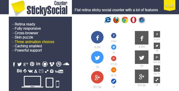 CodeCanyon StickySocial WP Retina Social Counter Plugin 6326385