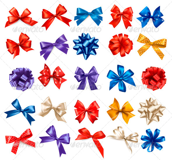GraphicRiver Big Collection of Color Gift Bows with Ribbons 6326429