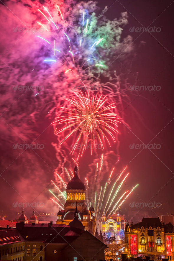 Fireworks in Cluj Napoca, Romania - Stock Photo - Images