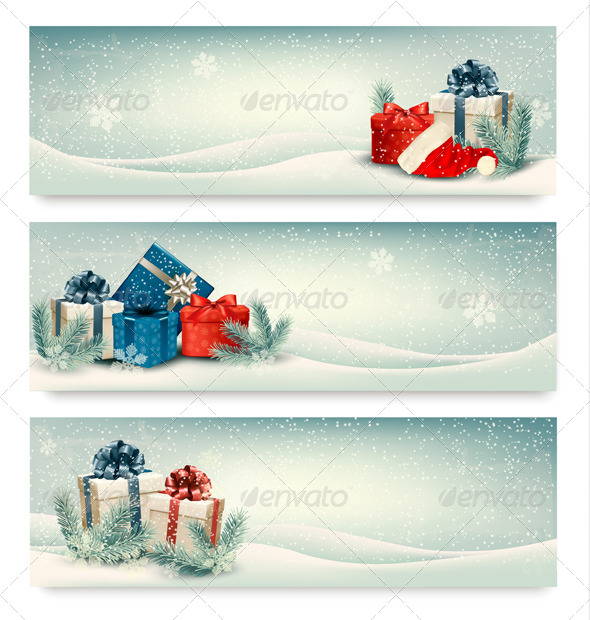 GraphicRiver Three Retro Holiday Banners with Gift Boxes 6326595