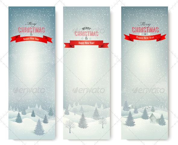 GraphicRiver Three Christmas Landscape Banners 6326596