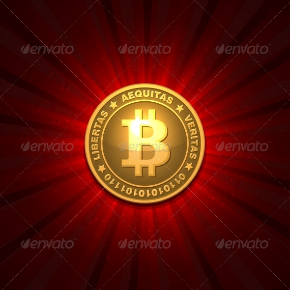 GraphicRiver Bitcoin on Red Background 6327438